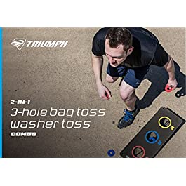 Triumph 2-in-1 Bag Toss/ Washer Toss Combo – Includes 2 Game Platforms, 6 Toss Bags, 6 Washers