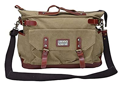 Gootium 30621 Canvas Genuine Leather Vintage Top Handle Handbag Cross Body Bag
