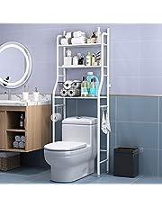 Bathroom Storage Shelf Toilet Storage Rack Bathroom Space Saver 3 Tier with Hook Multi-Functional Steady Free-standing for Bathroom Kitchen Living Room Laundry Room