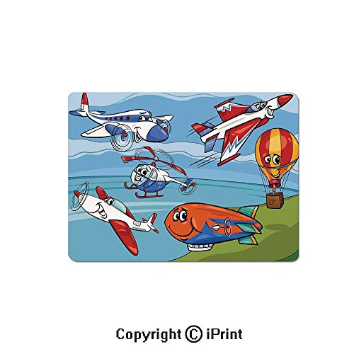 Gaming Mouse Pad Custom,Airplane Cartoons Toy Planes Jets Helicopter and Hot Air Balloon Aircraft Ship Party Decorations Mouse Mat,Non-Slip Rubber Base Mousepad,7.9x9.5 inch, ()