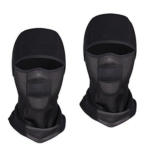 KingBra Pack Of 2 Fleece Hood Balaclava,Heavyweight Fleece Cold Weather Face and Neck Mask Black everage by KingBra