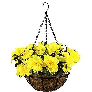 Lopkey Outdoor/Indoor Silk Big Flower Decor Artificial Azalea Bush Flower Patio Lawn Garden Hanging Basket with Chain Flowerpot,Yellow 120