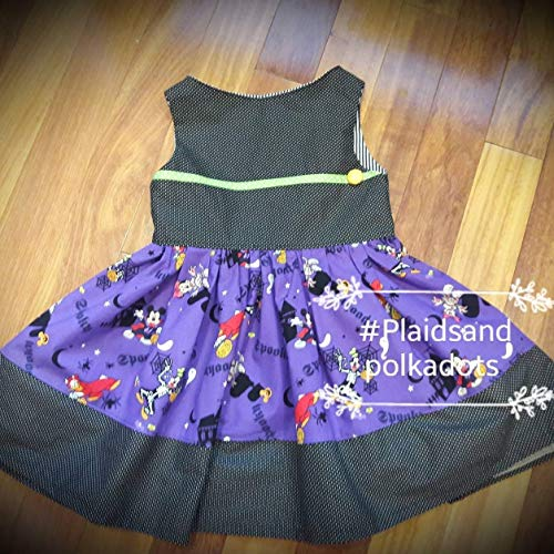 Girls Halloween Dress, Girls disney Dress, Halloween Costume, Halloween Party Dress, purple and black dress, mickeys not so scary, halloween party, costume, trick or treat, great pumpkin -