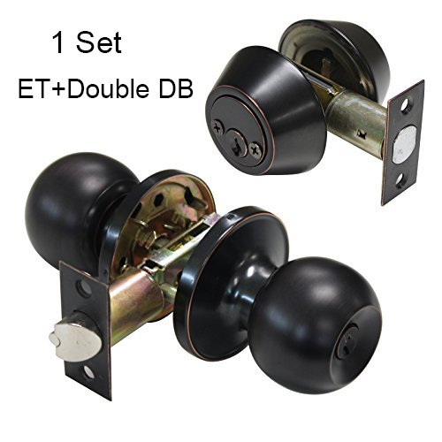 (Gobrico Keyed Alike Round Ball Entrance Door Lock Knob with Cylinder Double Deadbolt Lock Set)