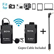 BOYA BY-WM2G Lavalier Wireless Microphone with GoPro Cable Adapter for GoPro Hero3 Hero3+ Hero4 iPhone 8 8 plus iPad Tablet DSLR Camera Sony Camcorder Podcast Vlogging Street Interviews Youtube Video