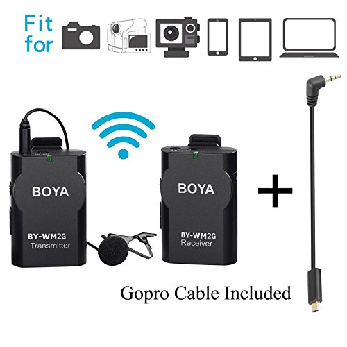 BOYA BY-WM2G Lavalier Wireless Microphone with GoPro Cable Adapter for GoPro Hero3 Hero3+ Hero4 iPhone 8 8 plus iPad Tablet DSLR Camera Sony Camcorder Podcast Vlogging Street Interviews Youtube Video by BOYA