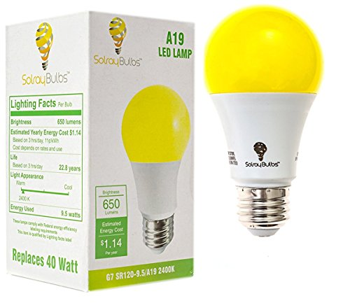 Yellow LED Bug Light Bulb Outdoor 650 Lumens Medium Base LED 9.5 Watt Outdoor Indoor Bug LED Warm Yellow Light Bulb 2400k (1Pack) - Yellow Bug Light Bulb