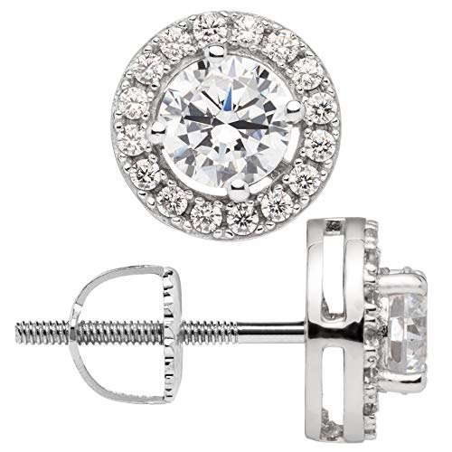 - 14K Solid White Gold Stud Earrings | Round