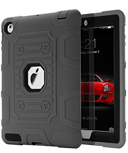 TOPSKY [Kids Proof] iPad 2 Case,iPad 3 Case,iPad 4 Case,Shock-Absorption High Impact Resistant Hybrid Armor Defender Shockproof Case Cover For iPad 2/3/4 (Only For 9.7 inch iPad),Grey-Black (Otter Case For Ipad 4 Generation)