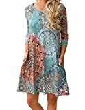 Women's 3/4 Sleeve Damask Floral Printed Tunic Dress Bohemian Swing Casual Midi Dress with Pocket Tunic Blouses for Leggings (X-Large, Lake Blue)