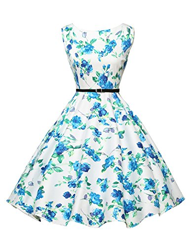 - Floral Pin Up Vintage Dress for Women with Belt Size 1X F-23