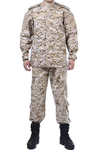 - U.S. Army Digital Desert Camo ACU Combat Coat Pant Uniform BDU Tactics Sets Military Jacket Shirt & Pants Suit