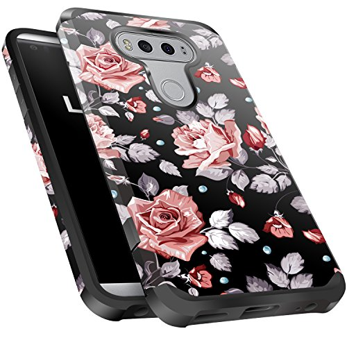 LG V20 Case Shockproof, Miss Arts Slim Anti-Scratch Protective Kit with [Drop Protection] Heavy Duty Dual Layer Hybrid Sturdy Armor Cover Case for LG V20 2016 Release -Rose Gold Flower/Black