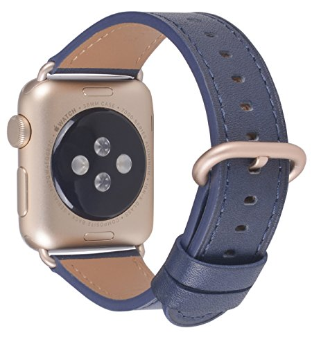 PEAK ZHANG Compatible with Apple Watch Band 38mm 40mm 42mm 44mm Women Men Genuine Leather Replacement Strap with Champagne Gold Adapter and Buckle for iWatch Series 4,3,2,1(Dark Blue,38mm 40mm - 0620 Series