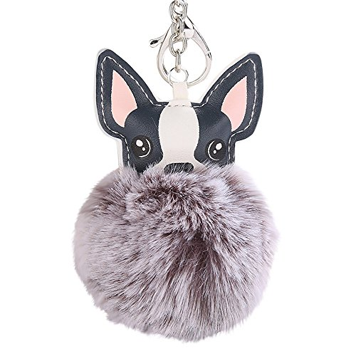 FEDULK 8CM Cute Dog Pendant Women Key Ring Holder Pompoms Funny Novelty Key Chains(Grey , One Size)