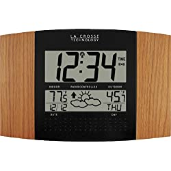 La Crosse Technology WS-8157OAK-IT Atomic Clock with Outdoor Temperature and Weather Forecast