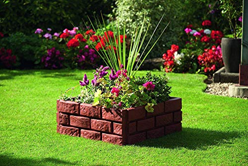 Terra Cotta Solar Lighted Brick Look Garden Border Flowerbed Border Landscape Edging -