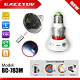 EazzyDV BC-783M Mirror HD720P WiFi Bulb P2P IP Network DVR Hidden Camera with White Light output and Remote Control Home Safety
