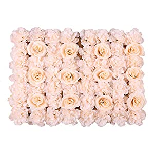 Duovlo Artificial Silk Rose Flower Panels Wall Decoration 1.95ft x 1.31ft Wedding Backdrops Event Party Baby Showers Arrangment (Champagne) 61