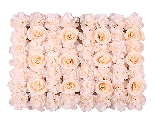 Duovlo Artificial Silk Rose Flower Panels Wall Decoration 1.95ft x 1.31ft Wedding Backdrops Event Party Baby Showers Arrangment (Champagne)]()
