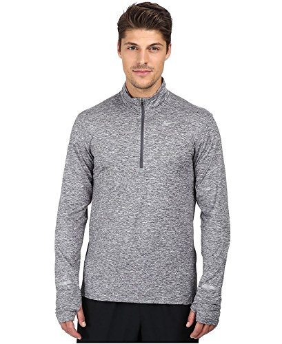 NIKE Men's Dry Element Running Top Dark Grey Heather Size Small