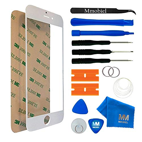 MMOBIEL Front Glass iPhone 7 Plus (White) Display Touchscreen incl 12 pcs Tool Kit/Pre-Cut Sticker/Tweezers/ Roll Adhesive Tape/Suction Cup/Metal Wire/Cleaning Cloth from MMOBIEL