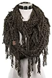 ScarvesMe CC Knitted Double Loop Circle Infinity Scarf with Fringe (New Olive)
