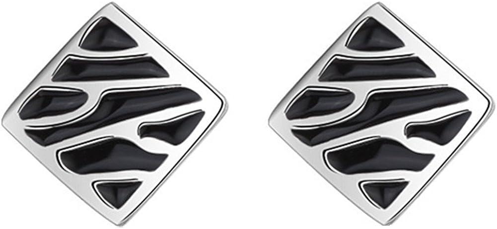 Pendientes unisex chapados en plata de ley con diseño de leopardo negro y ágata de ónix cuadrada