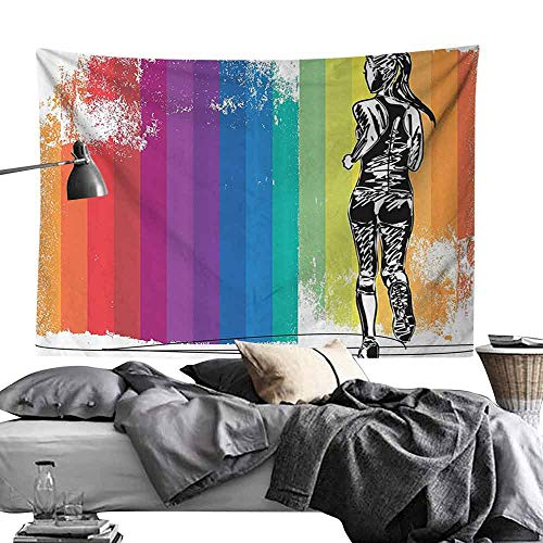 Polyester Tapestry Olympics Decorations Female Marathon Runner Illustration on Vertical Stripes in Rainbow Color Bedroom Home Decor W70 x L59 Orange Purple Blue