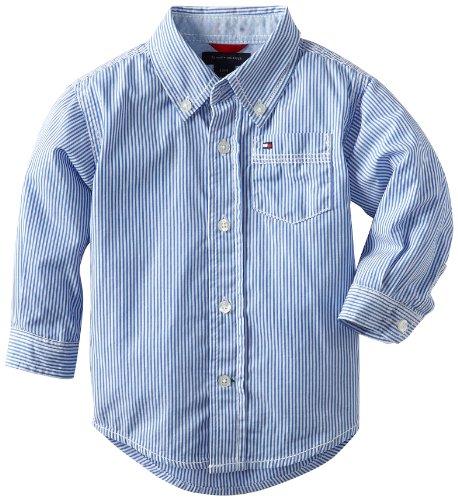Tommy Hilfiger Button Shirt - Tommy Hilfiger Baby Boys' Stripe Shirt, Strong Blue, 18 Months