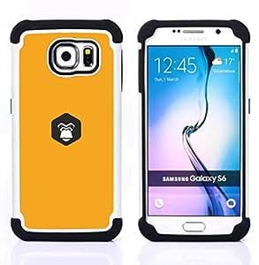 GIFT CHOICE / Defensor Cubierta de protección completa Flexible TPU Silicona + Duro PC Estuche protector Cáscara Funda Caso / Combo Case for Samsung Galaxy S6 SM-G920 // yellow Gorilla inside //