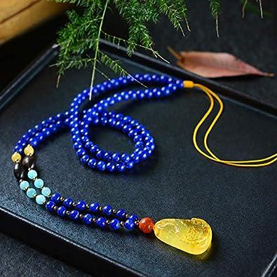 Gracelace AAA Quality Lapis Lazuli Necklace Pendants Crystal Gemstone Round Beads