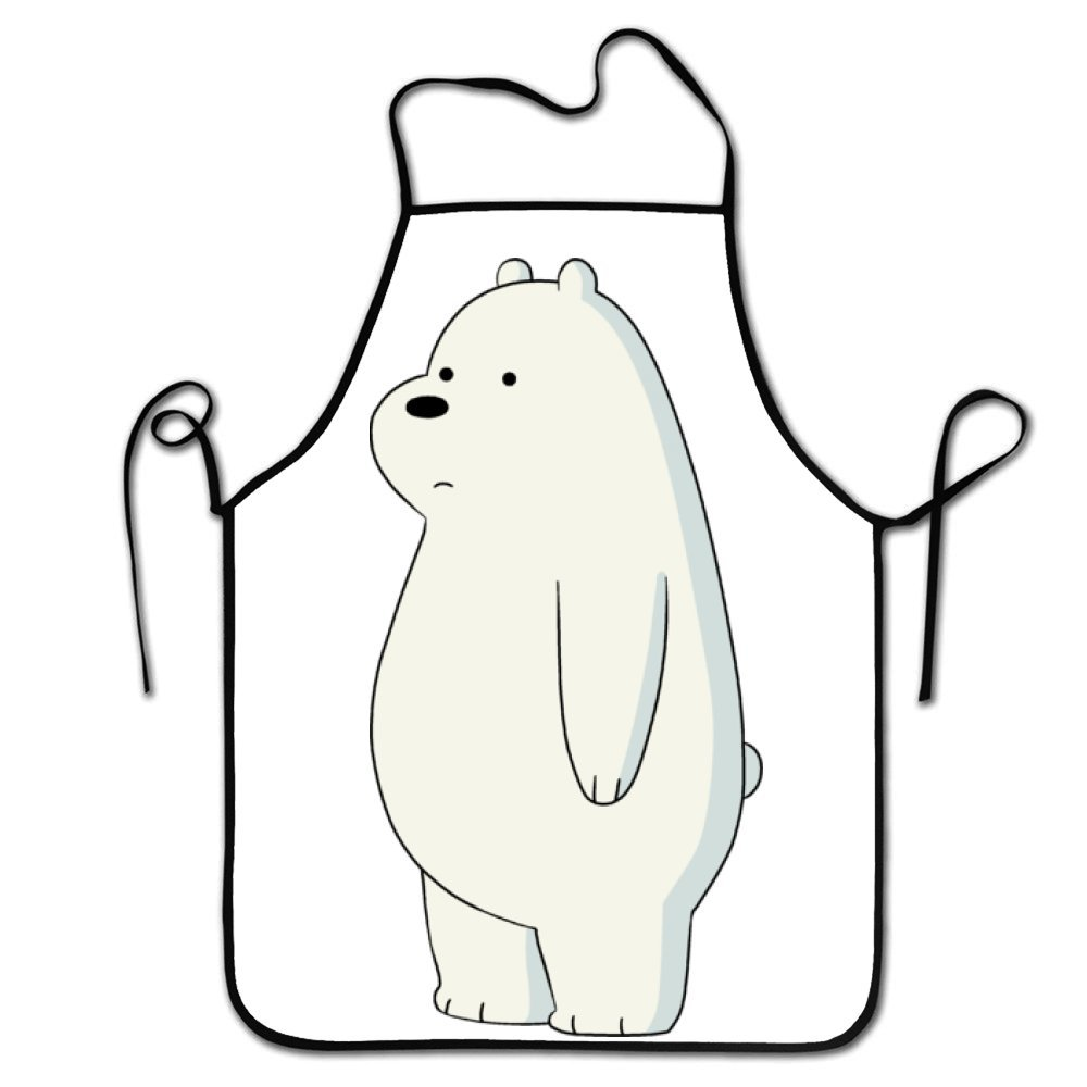 Guang trading Cute Stand Ice Bear We Bare Kitchen Aprons Long Tie Adjustable Bib Apron Adult's Aprons for Cooking Baking Griling