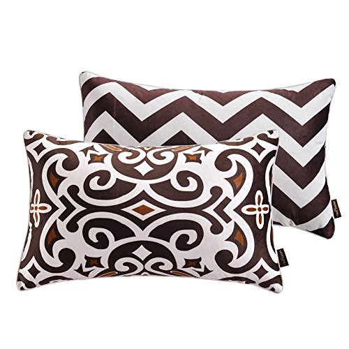 "nioBomo Super Soft Throw Pillow Case Decorative Cushion Covers for Bed Livinig Room Couch Sofa 12"" X 20"", Set of 2 - Chevron and Vintage Floral, Brown Coffee White (12 by 20 inches, 1)"