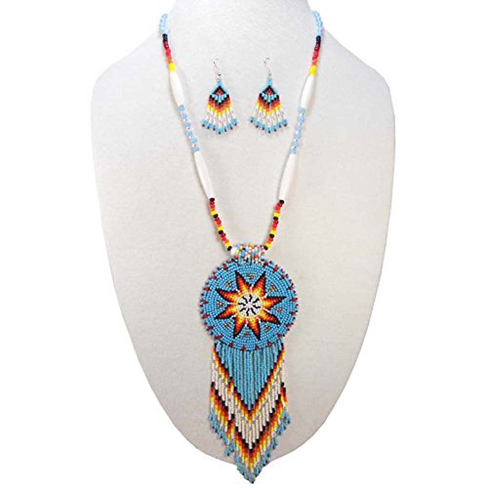 La vivia TURQUOISE BLUE NATIVE AMERICAN STYLE STAR BEADED NECKLACE EARRINGS SET S-51/1