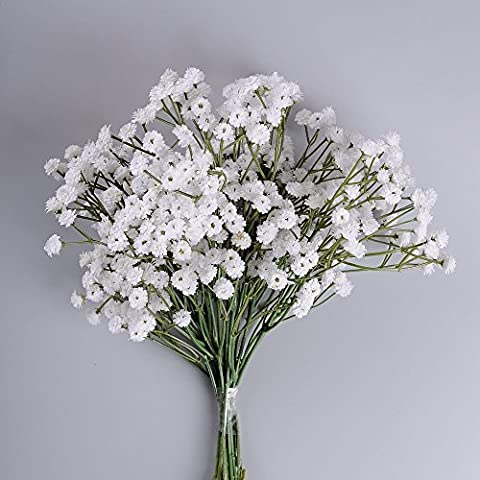 Supla 6 Stems Real Touch White Gypsophila Baby's Breath Babybreath Baby Breath ,Faux Baby Breath Baby Breath Wedding Bouquets,One Stem with SIX clusters of 90 - One Stem