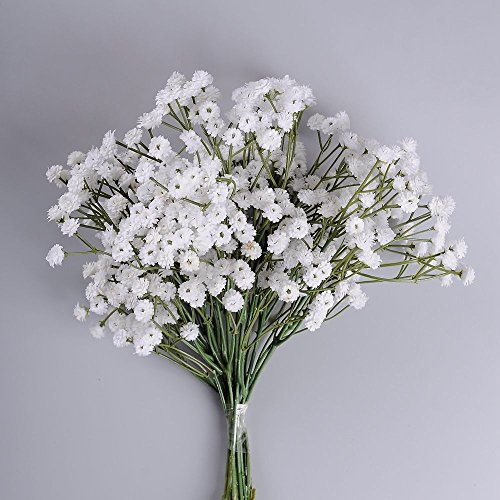 Supla 6 Stems Real Touch White Gypsophila Baby's Breath Babybreath Baby Breath ,Faux Baby Breath Baby Breath Wedding Bouquets,One Stem with SIX clusters of 90 (Faux Floral)