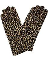 Luxury Divas Leopard Black & Tan Plush Stretchy Warm Gloves