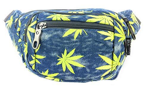 Maxx Gear Unisex Adult 4-Pocket Marijuana Leaf Festival Bum Bag Waist Fanny Pack (Yellow)