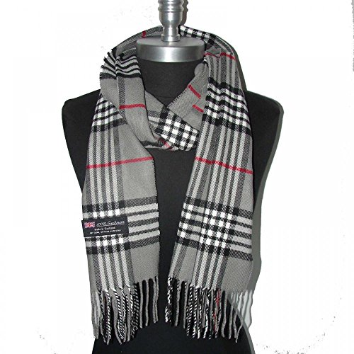 Gray_NEW Scarf SCOTLAND WOOL Big Check Loop Plaid Unisex - SM02 (US Seller)