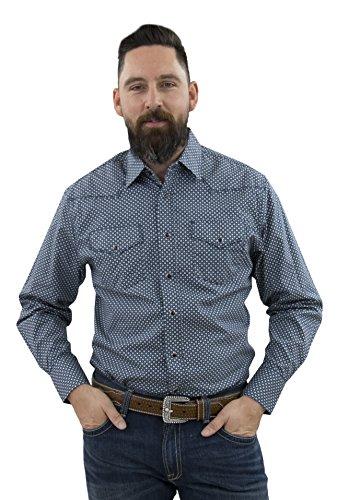 STARR Western Snap Long Sleeve Print Men's Shirt by SWPS100L-157-BLUE SPOT-Size-S
