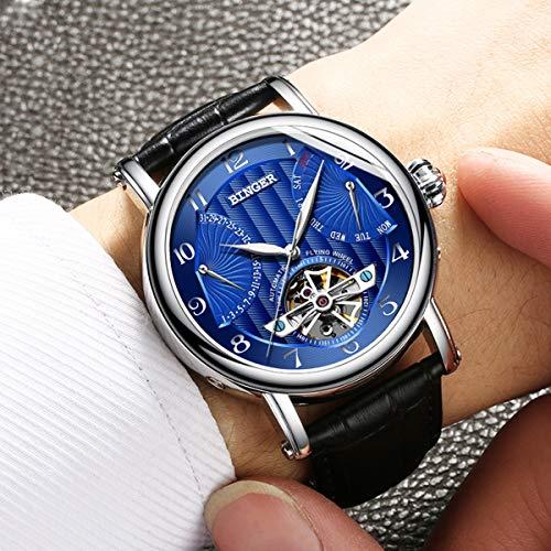 BINGER klockor män märke business safir vattentålig läderrem mekaniska armbandsur, färgC
