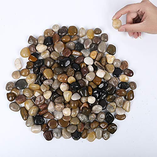 OUPENG Aquarium Gravel River Rock - Natural Polished Decorative Gravel, Small Decorative Pebbles, Mixed Color Stones,for Aquariums, Landscaping, Vase Fillers 5 Pounds (80-Oz)