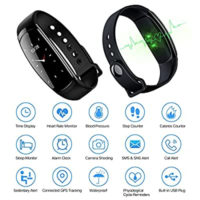 Conthou Fitness Tracker, Color Screen Fitness Watch Waterproof Heart Rate Monitor, Blood Pressure, Sleep Monitor, Pedometer, Physiological Period Reminder, Call/SMS Remind Kids Women Men