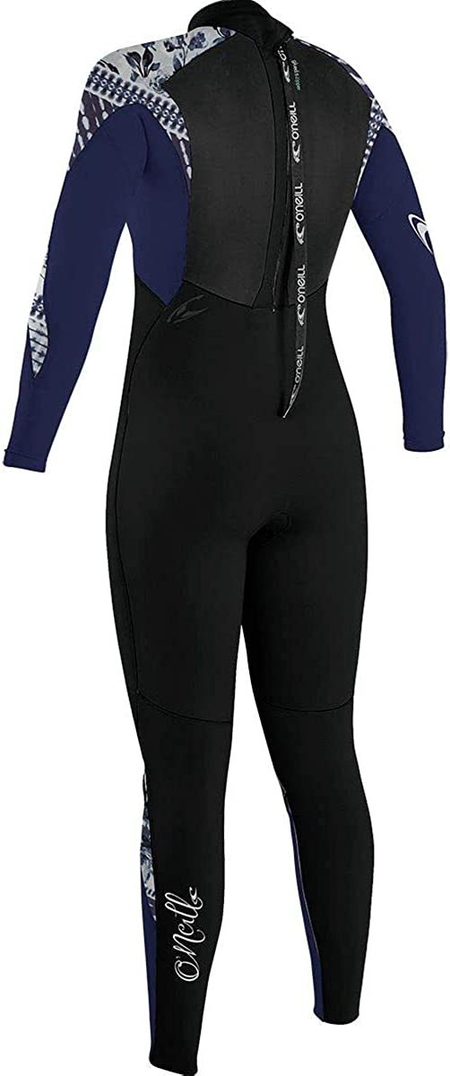 8 ONeill Womens Epic 4//3mm Back Zip Full Wetsuit Black//Navy