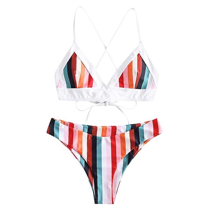 c241a9e1bc4 ZAFUL Women's Colorful Striped Back Criss Cross Lace-up Bathing Suit  Rainbow Triangle Bikini Multi