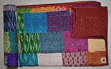 Tribal Asian Textiles Indian Patola Silk Patch Work Kantha Quilt Kantha Blanket Bedspread Twin Quilt (Multi Patchwork)