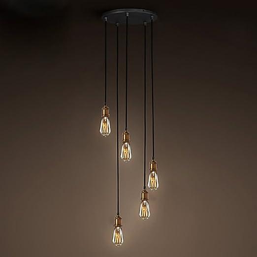 NIUYAO Lámpara de techo Forma Escalera Metal Iluminación Ciling Light Industrial Retro con 5 Luz-Latón: Amazon.es: Iluminación