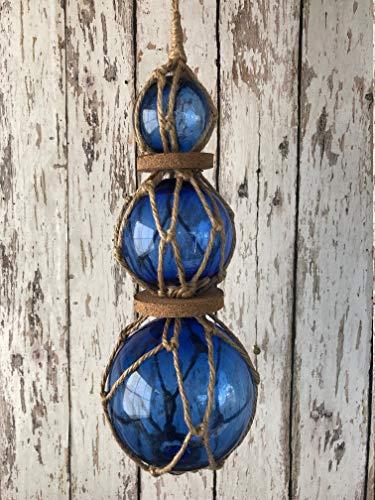 Nautical Fish Net Buoy Ball w// Rope Netting /& Cork Beach Decor Cobalt Blue Glass Fishing Floats On Rope