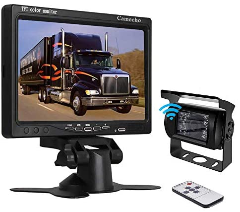 Camecho RC 12V 24V Car Backup Camera Rear View Wireless IR Night Vision Backup Camera Waterproof Kit + 7″ TFT LCD Monitor Parking Assistance System for Truck/Van/Caravan/Trailers/Camper